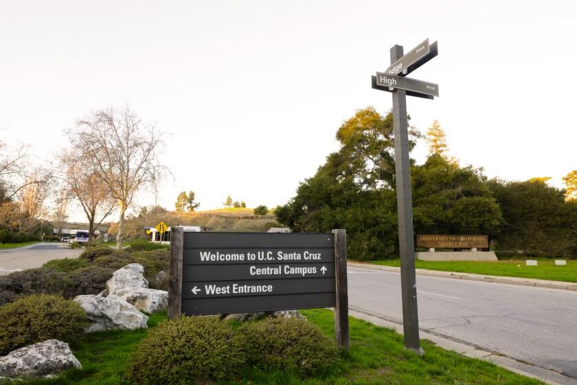 The main entrance to the UC Santa Cruz campus.