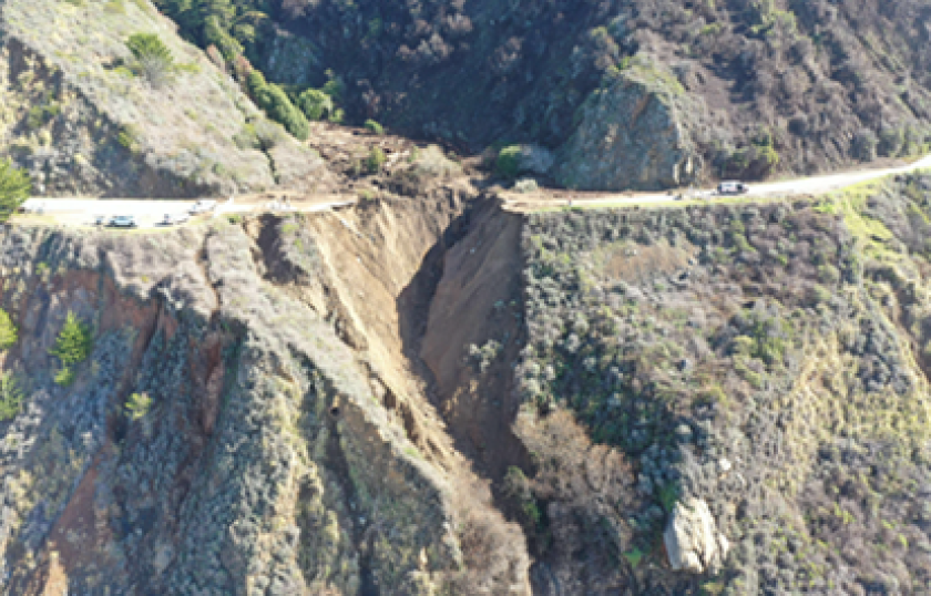 The gap in Highway 1 after the collapse in January . . .