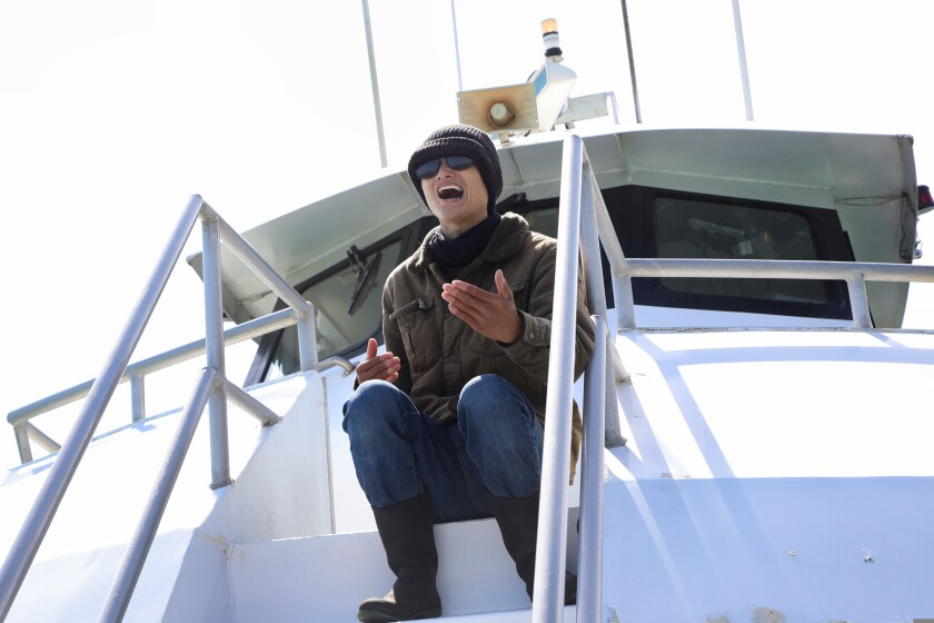 Naturalist Brian Phan helped guide a Memorial Day shark-watching tour with Santa Cruz Whale Watching.