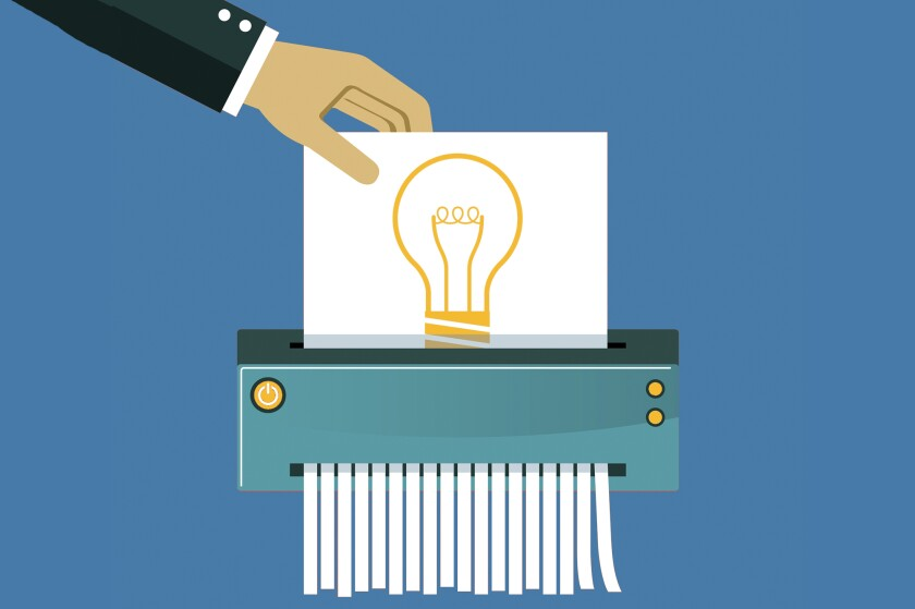 An illustration of a picture of a lightbulb getting shredded