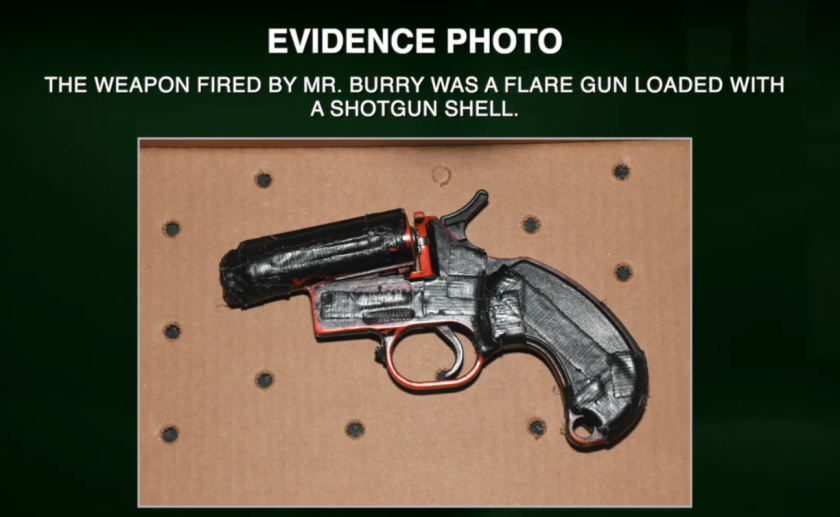 The gun used by suspect Eli Burry