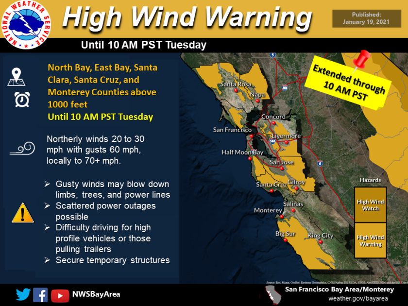 High Wind Advisory in place for Santa Cruz Mountains