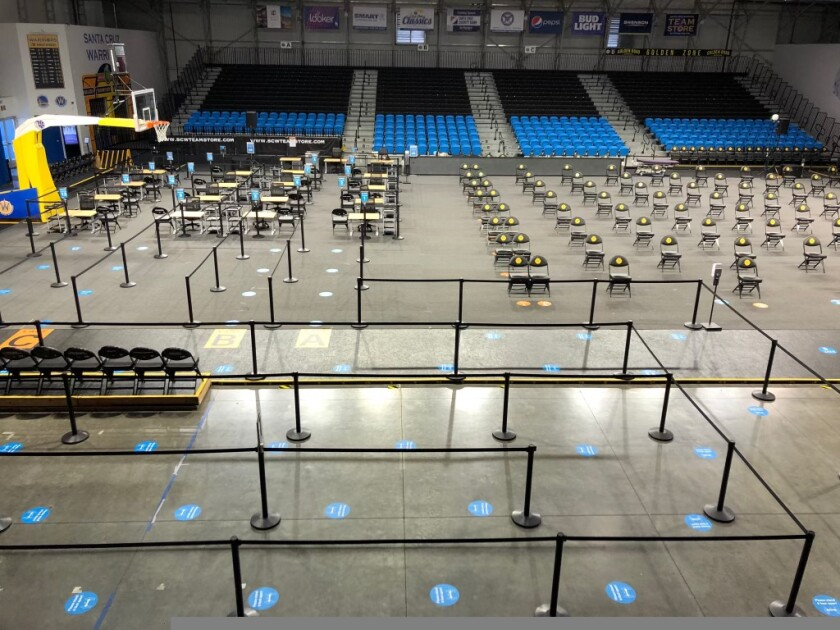 The Kaiser Permanente Arena in Santa Cruz, set up for a COVID-19 vaccination clinic.