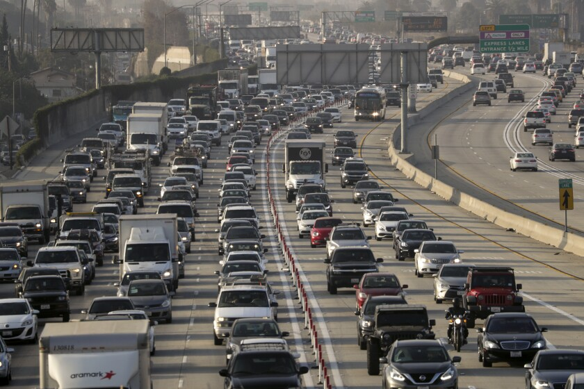 Cars in freeway traffic