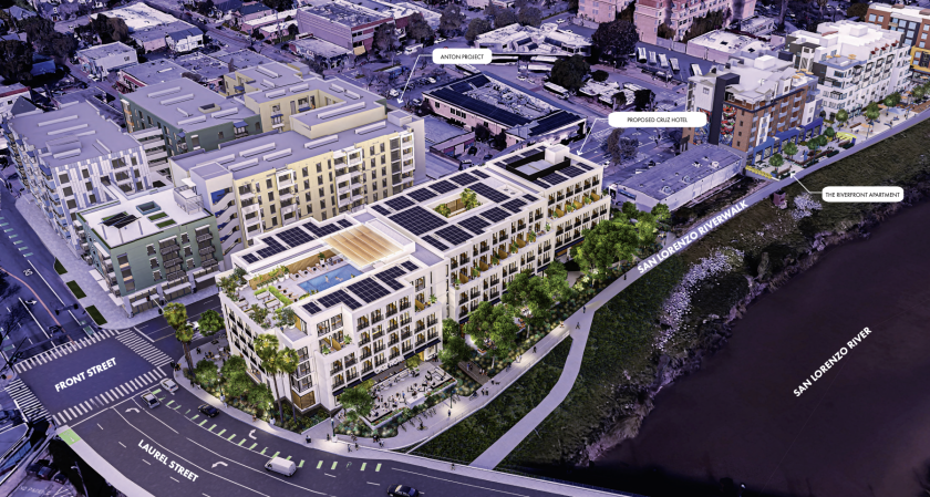 Renderings of the proposed Cruz Hotel at Front and Laurel.