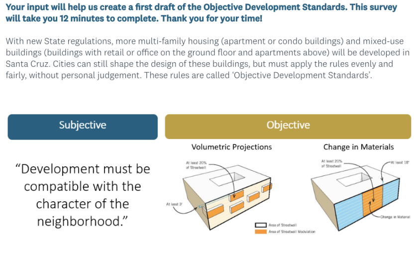 A screenshot from the city's survey on standards for new housing.