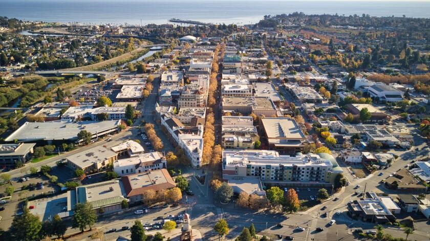 Downtown Santa Cruz, looking toward Monterey Bay