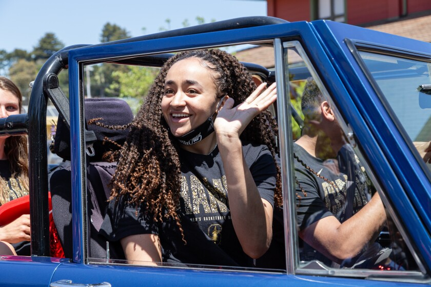 Haley Jones, driven by her brother Cameron, arrives at Santa Cruz City Hall.