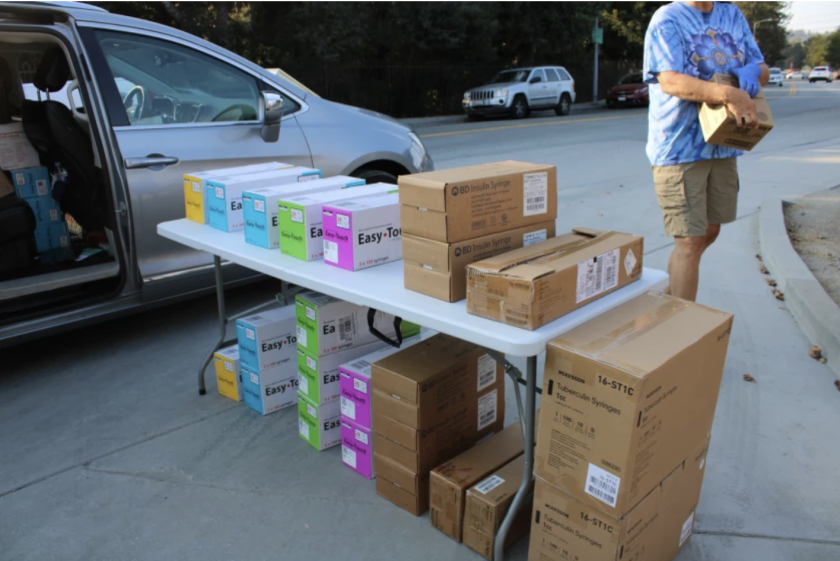 The Harm Reduction Coalition of Santa Cruz County gives away free syringes in nine sizes.