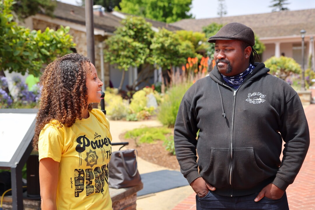 Councilmember Justin Cummings, who previously served as mayor, with artist and activist Abi Mustapha.