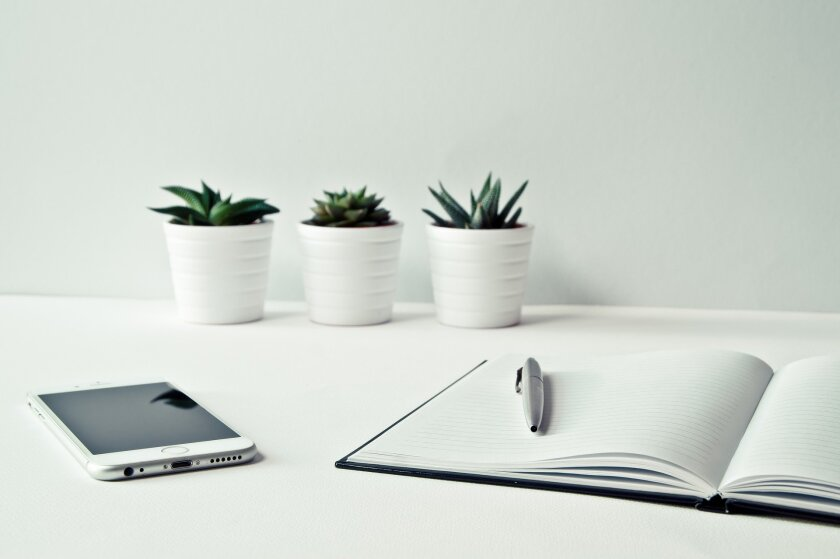 A desk with a phone, notebook, pen and some plants