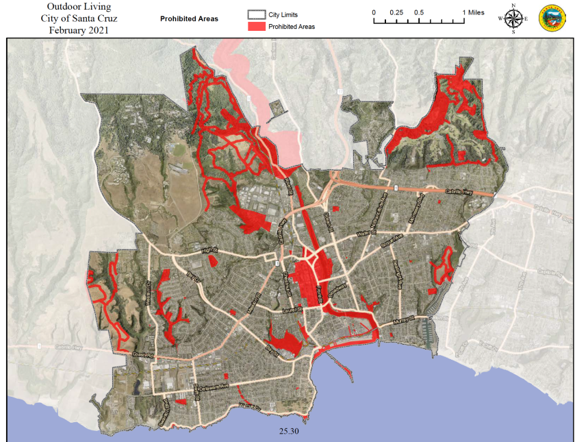 A map of areas within Santa Cruz where camping would be prohibited under a new outdoor living ordinance.