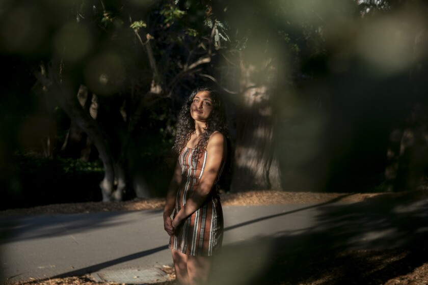 Riya Master, a fourth year studying integrative biology at UC Berkeley, is photographed in Campus on Sept. 21, 2021.