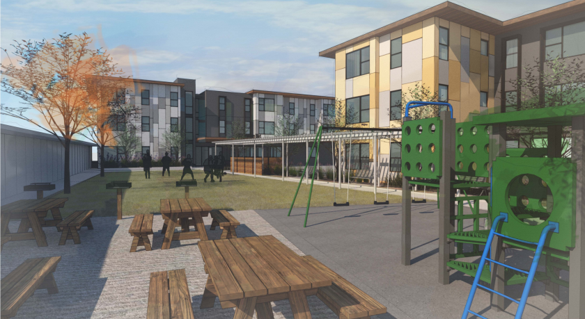 A rendering of the playground area between two affordable apartment buildings at 1482 Freedom Blvd. in Watsonville.