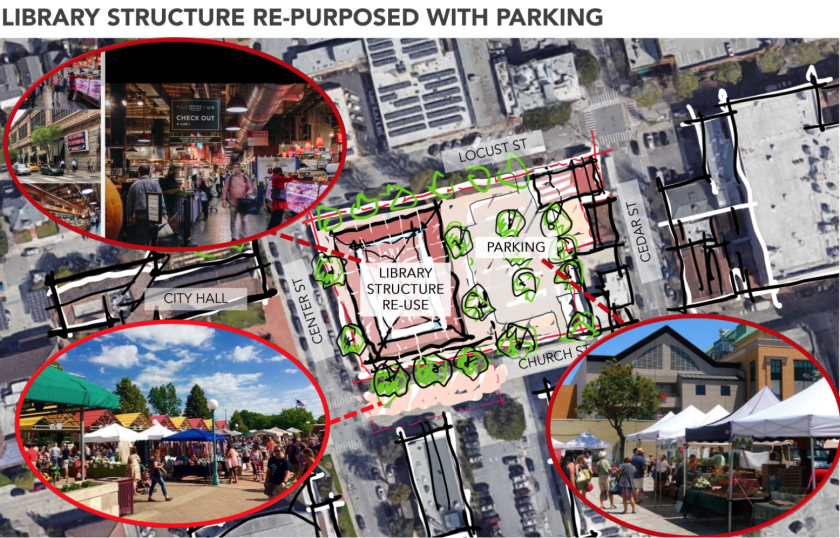 A sketch shows what the Church Street library site could look like as a repurposed retail or community space.