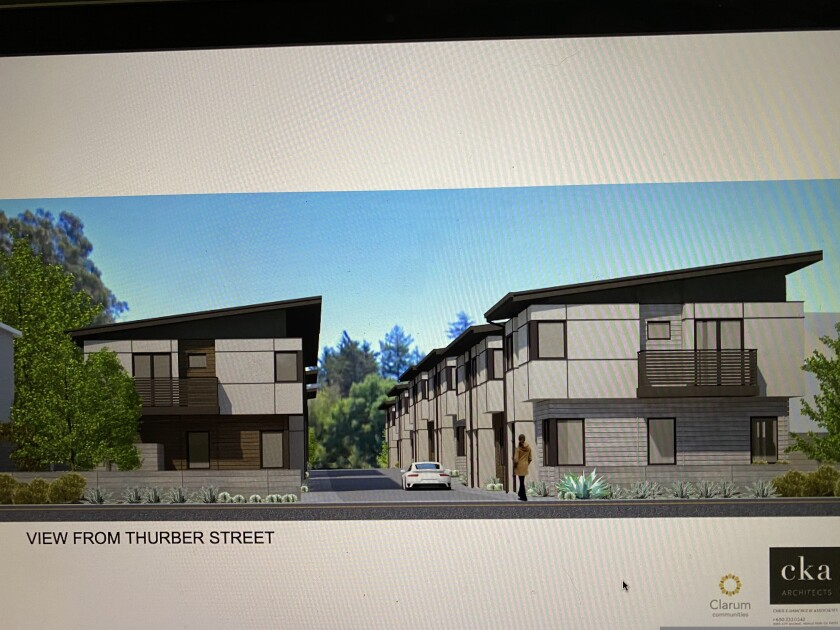 A rendering from CKA Architects shows the proposed town home development at 3212 Mission Drive.