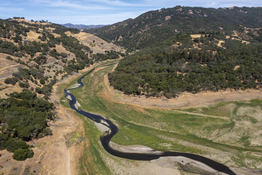 The Russian River, just north of drought-stricken Lake Mendocino in Ukiah, Calif., on June 16, 2021.