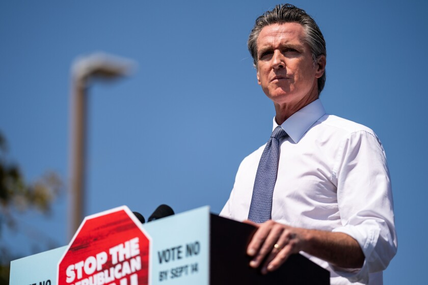 SAN LEANDRO, CA - SEPTEMBER 08: Governor Gavin Newsom speaks ahead of Vice President Kamala Harris at a rally against the upcoming California gubernatorial recall election at the IBEW-NECA Joint Apprenticeship Training Center on Wednesday, Sept. 8, 2021 in San Leandro, CA. The recall election, which will be held on September 14, 2021, asks voters to respond two questions: whether Newsom, a Democrat, should be recalled from the Office of Governor, and who would succeed Newsom should he be recalled. (Kent Nishimura / Los Angeles Times)