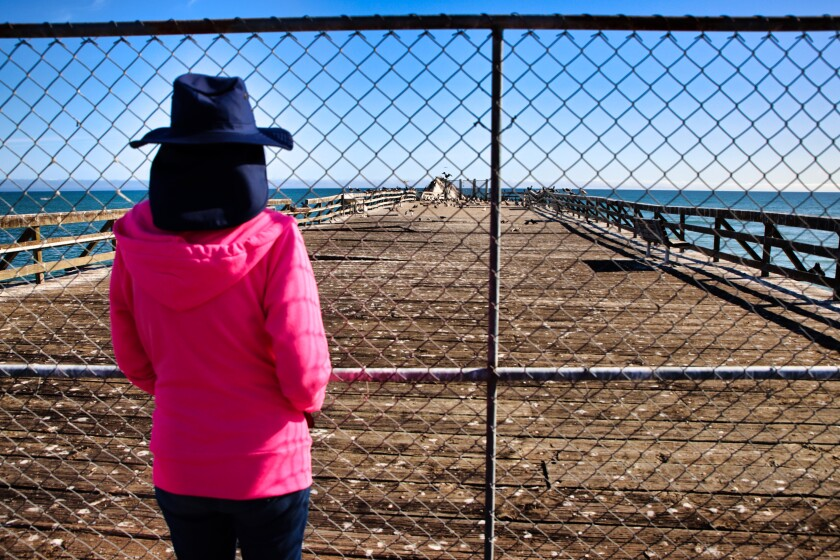 a woman looks through a chain link fence at a pier on the ocean