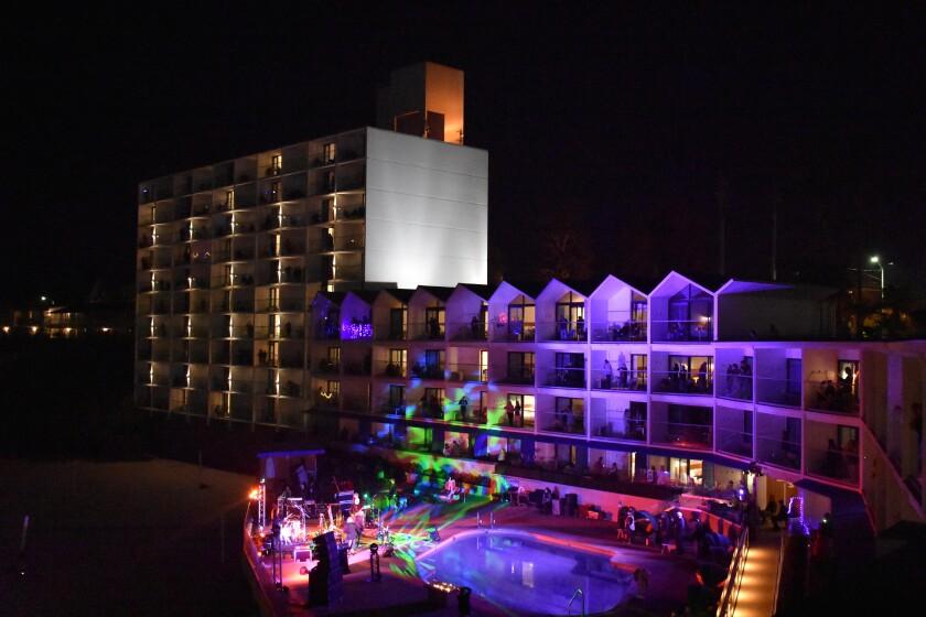 The Dream Inn as vertical concert venue on Halloween.