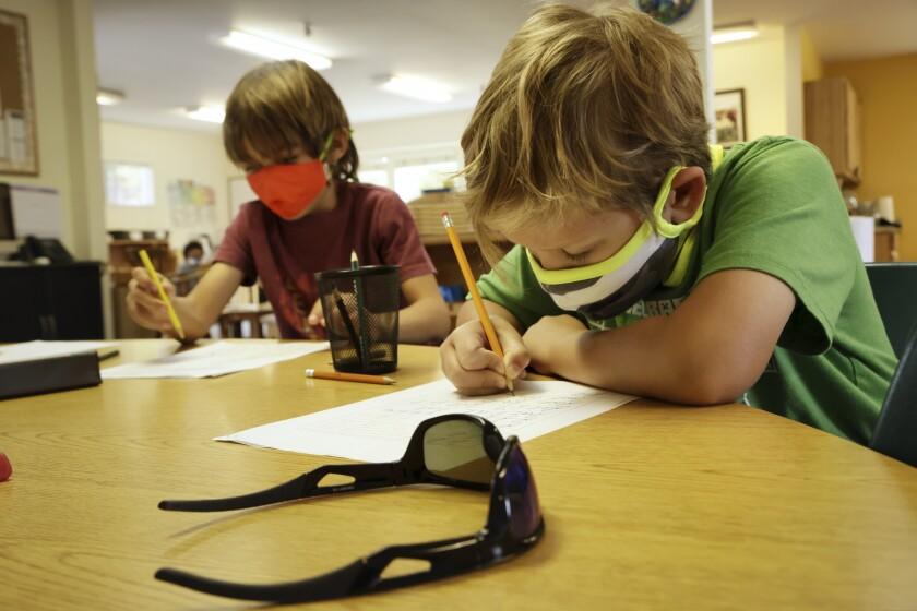 Students at Santa Cruz Montessori wearing masks on Wednesday.