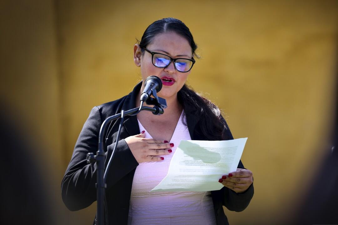 Maria Orozco was the lone PVUSD trustee to speak at the vigil.