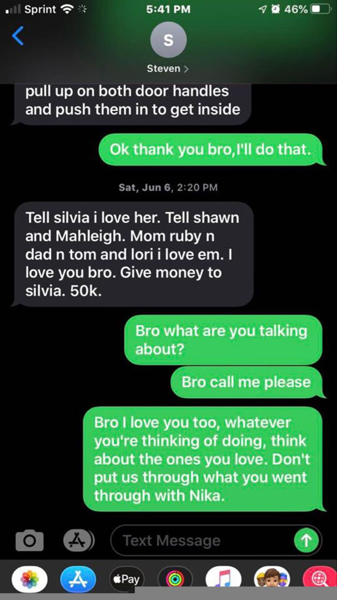 Text messages between Steven Carrillo and his brother Evan shortly before Carrillo allegedly killed a deputy sheriff.