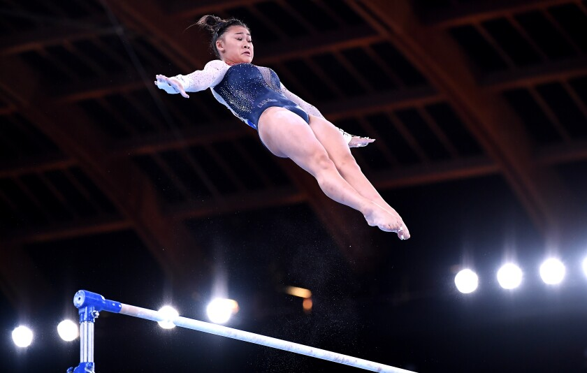 USA's Sunisa Lee competes on the uneven bars in the women's individual all-around final.