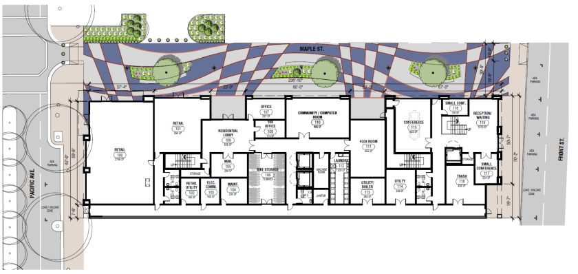 Site plan for Pacific Station South.