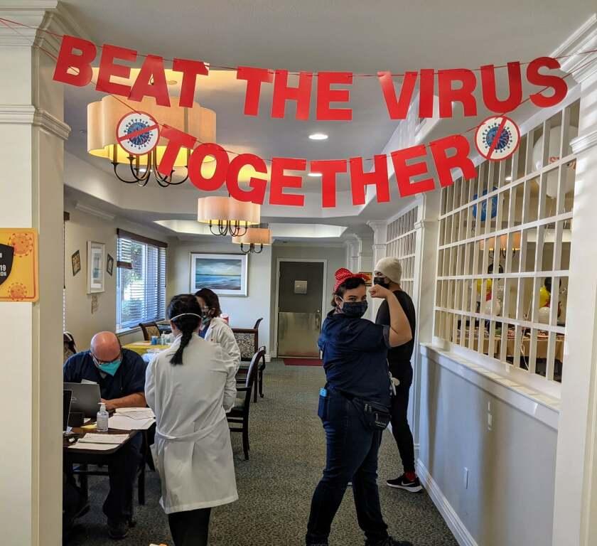 Aegis Living in Aptos celebrates COVID-19 vaccinations.