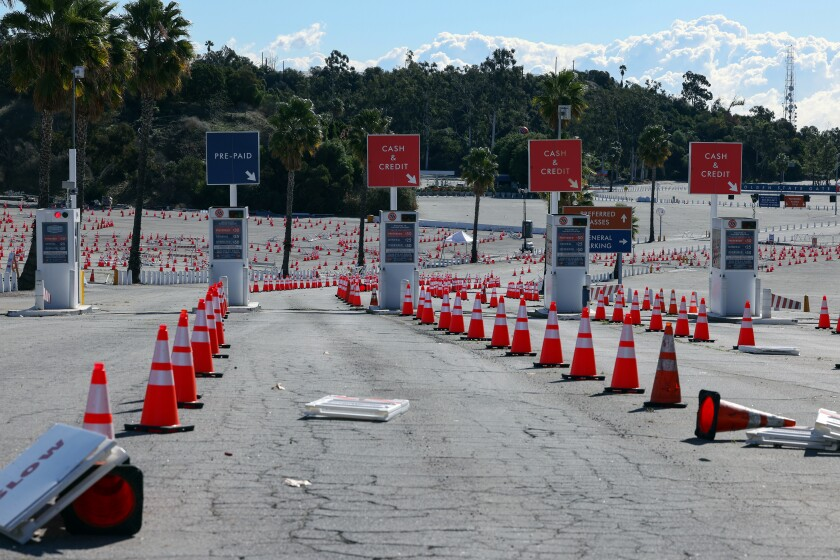 A view of the entrance to Dodger Stadium which has temporarily shut-down