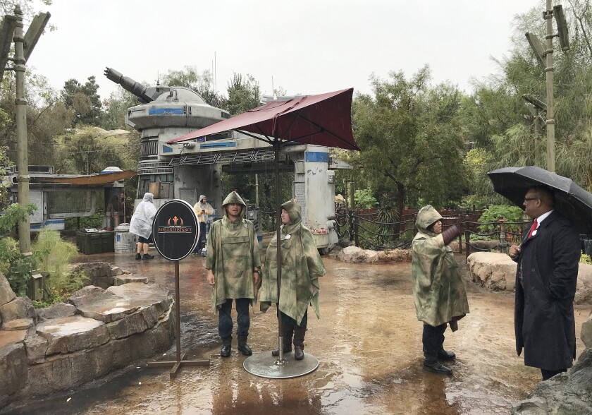 """Disneyland employees at the entrance to the """"Rise of the Resistance"""""""