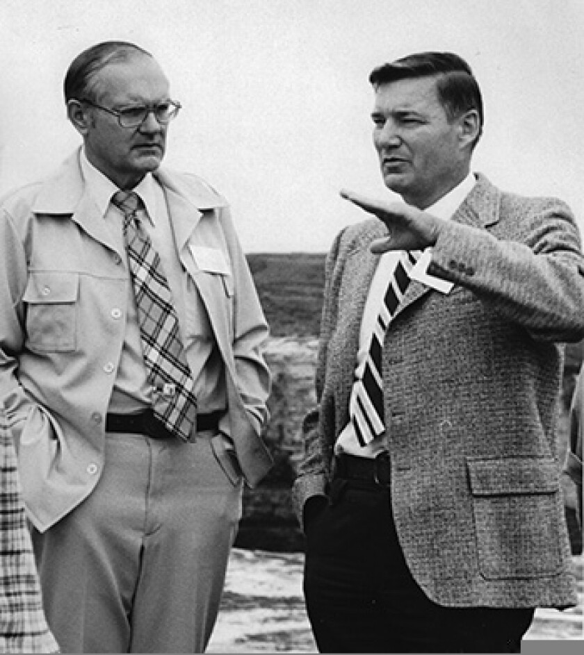 William Doyle (right) with Santa Cruz Mayor John Mahoney at the groundbreaking for Long Marine Laboratory in 1976.