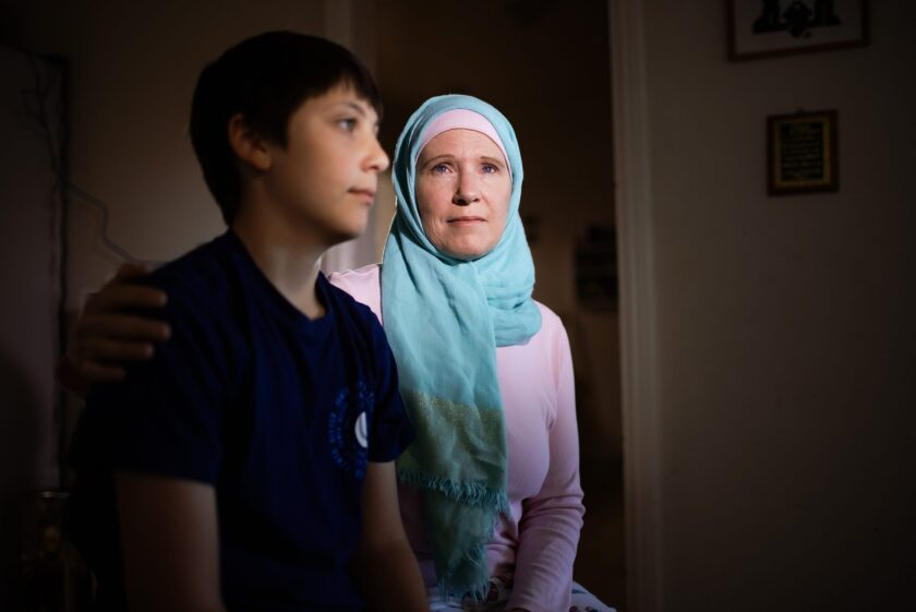 Wendy al-Mukdad and her 12-year-old son, Yazan, pose for a portrait at their home in San Bruno, on Wednesday, June 23, 2021. Photo by Dai Sugano, Bay Area News Group