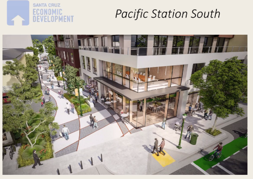 A rendering of Pacific Station South shows an upgraded Maple Alley.