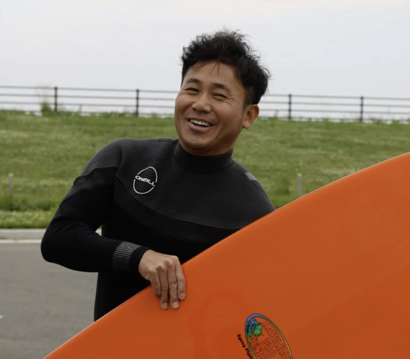 """""""We are surfing and you can even fish. There is not a problem,"""" says surfer Morito Murakami, 47, of Fukushima city."""