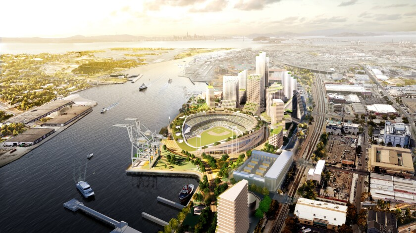 The Howard Terminal site and the proposed A's ballpark are shown in a rendering supplied by the Oakland A's.