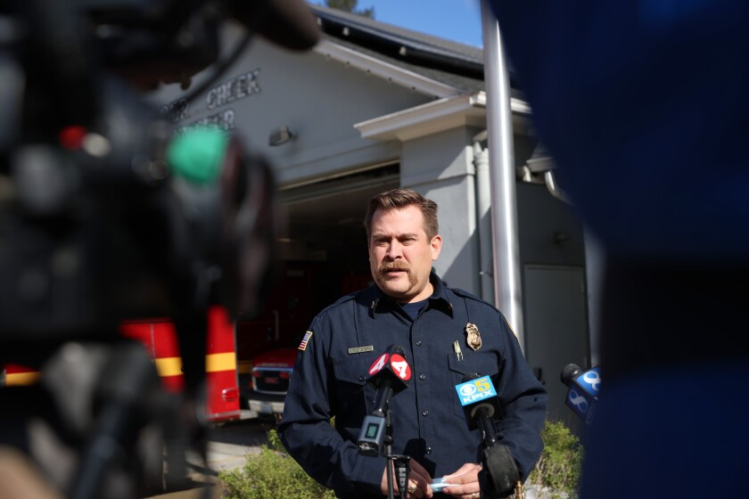 Boulder Creek Fire District Chief Mark Bingham implores people to play it safe on Monday.