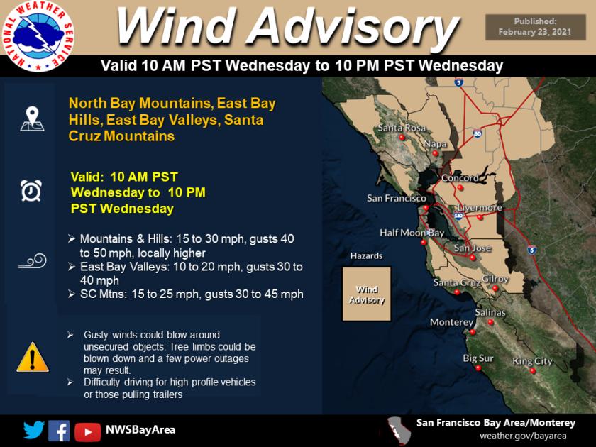 Wind advisory map