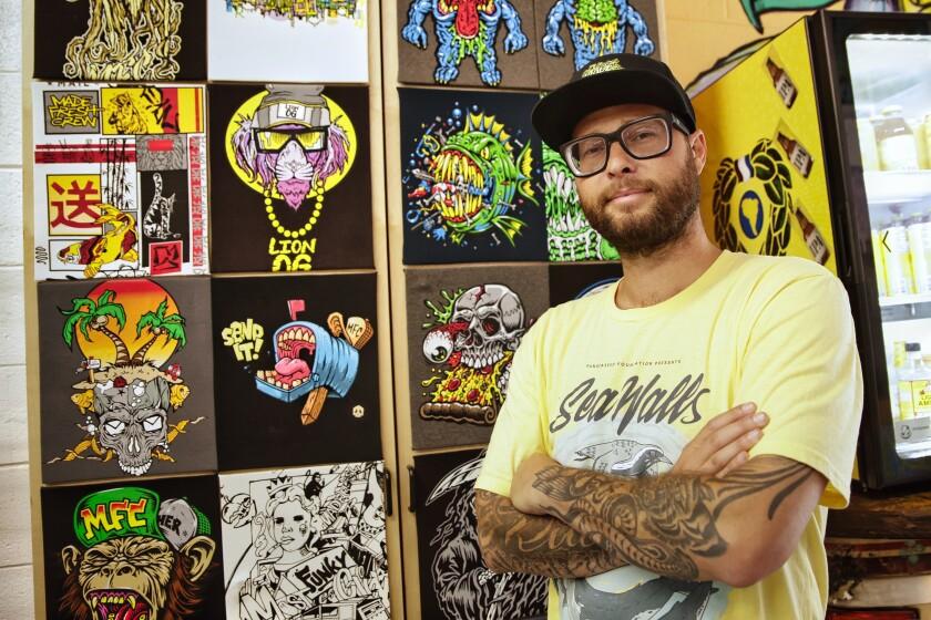 Taylor Reinhold with Made Fresh Crew T-shirt artwork