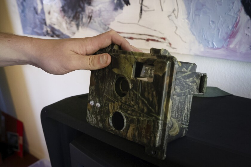 A painted camera on display in artist Danny Jay's studio