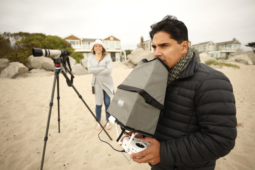 Carlos Gauna captures video along the Santa Barbara County coast