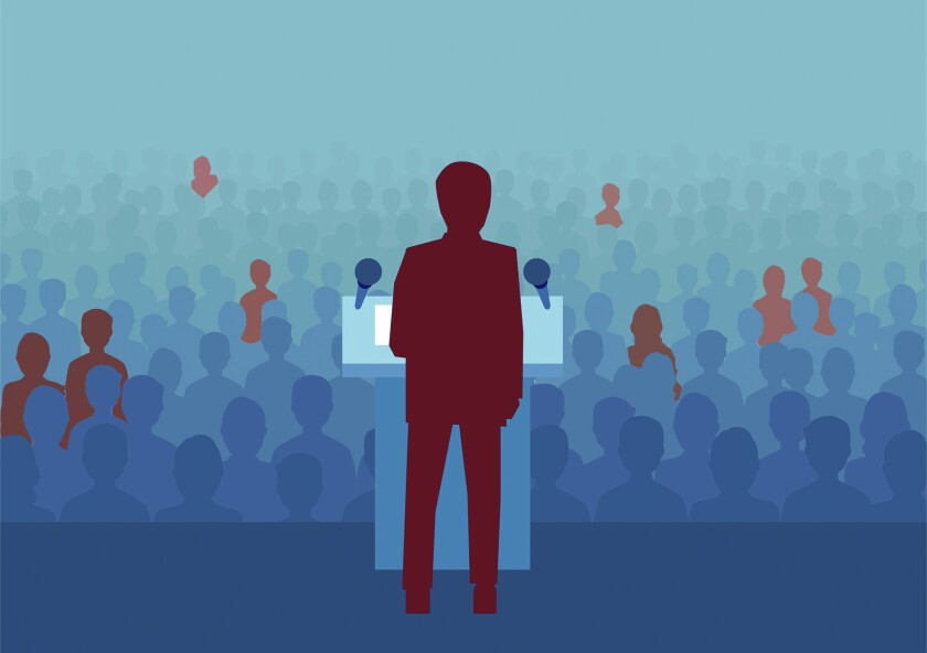 An illustration of a person at a podium before a crowd