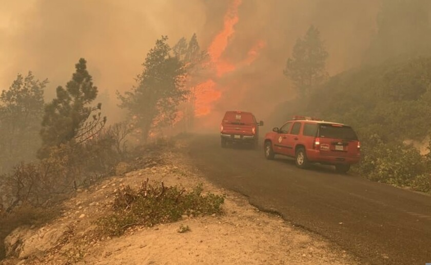 Gusty winds pushed the Caldor fire toward Wrights Lake Road, north of U.S. Highway 50.