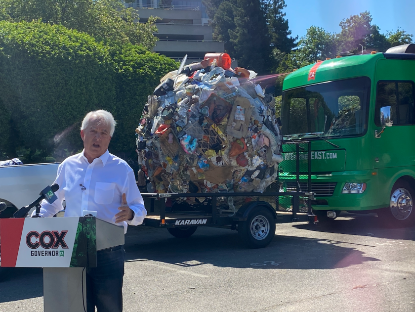 Republican recall candidate John Cox talks about his plan to address homelessness in Sacramento on July 1, 2021. Photo by Manuela Tobias, CalMatters