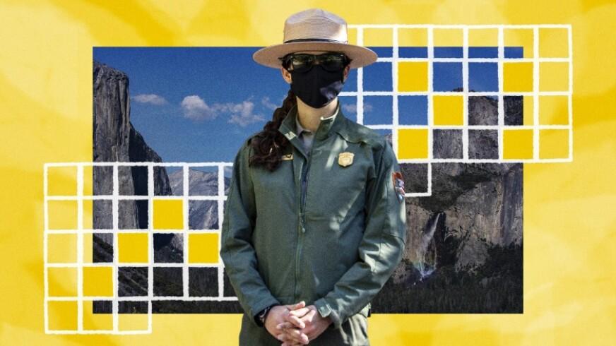 Illustration of a park ranger and Yosemite.