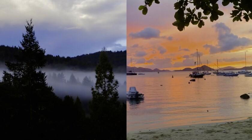 From the Boulder Creek fog hugging the redwoods to the Virgin Islands sunsets.
