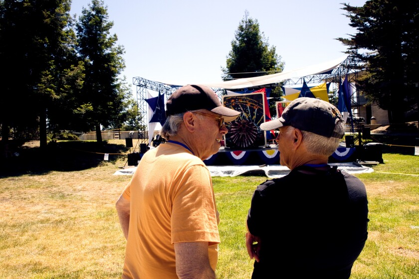 Joe Ortiz (left) and longtime collaborator Greg Fritsch (right) at Cabrillo's outdoor amphitheater.