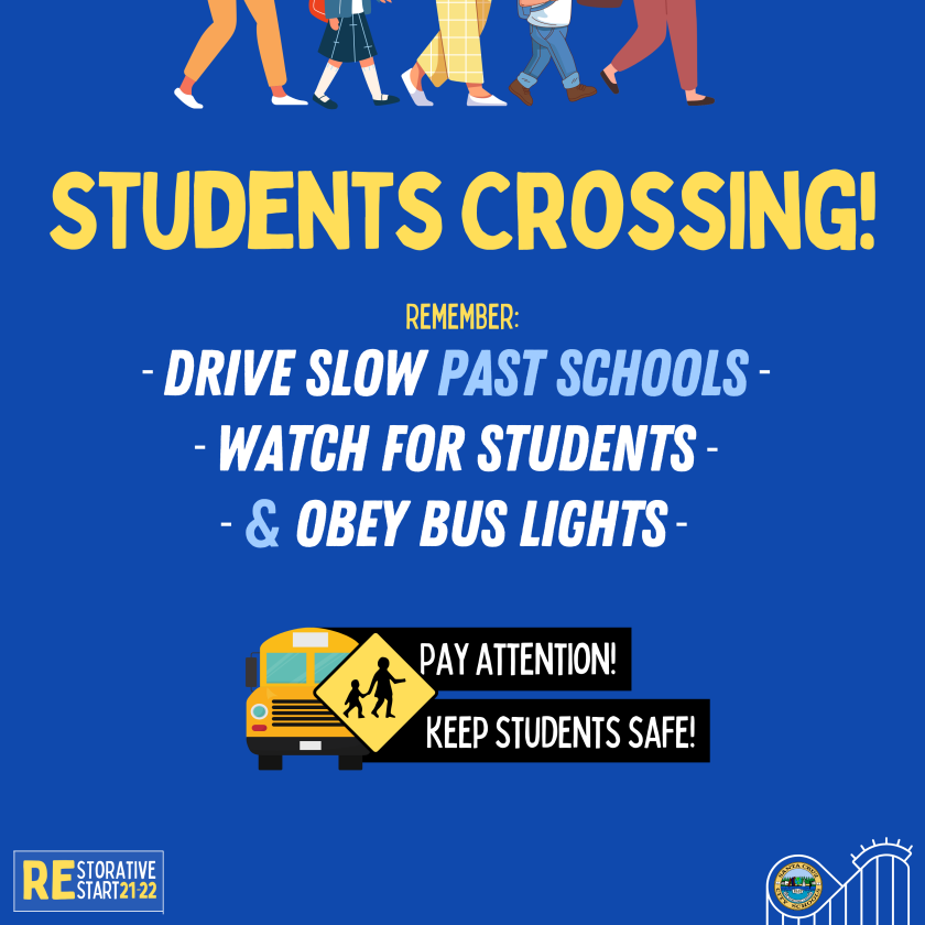 Students going back to school traffic reminder