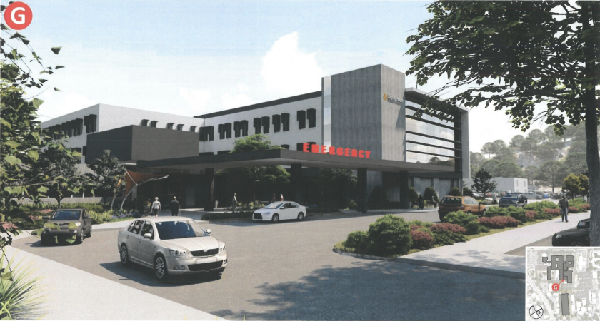 A rendering shows the planned expansion and renovation project at Dominican Hospital.